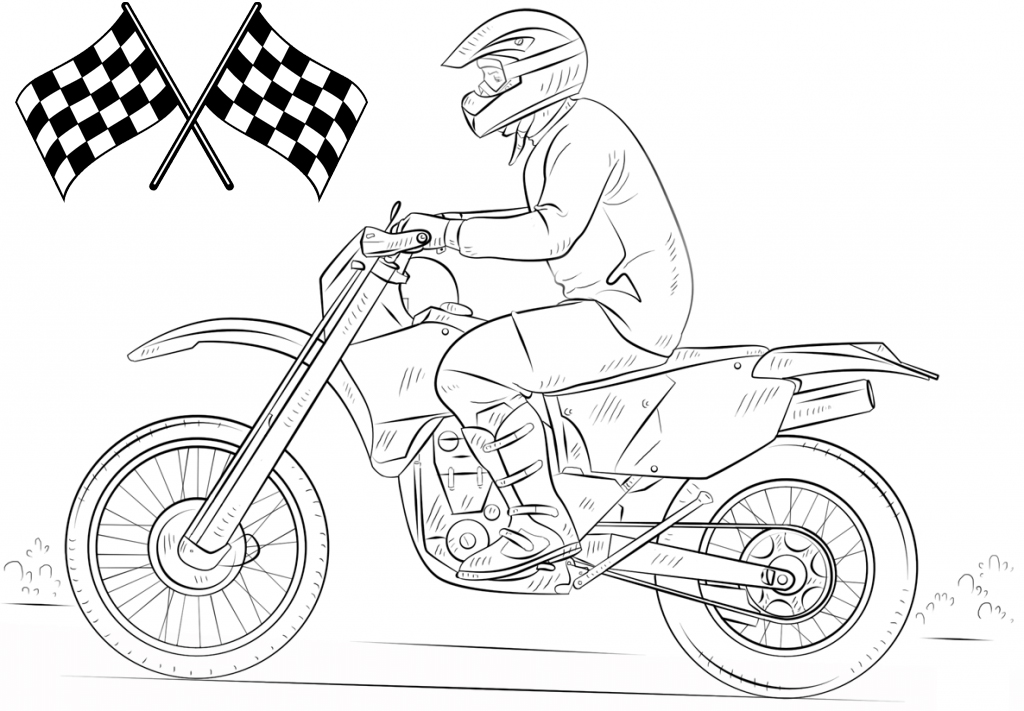 best dirt bike coloring page for kids and adults