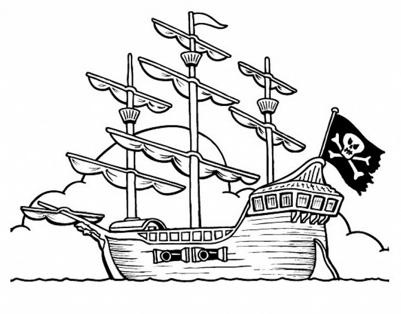 best pirate ship coloring page for children