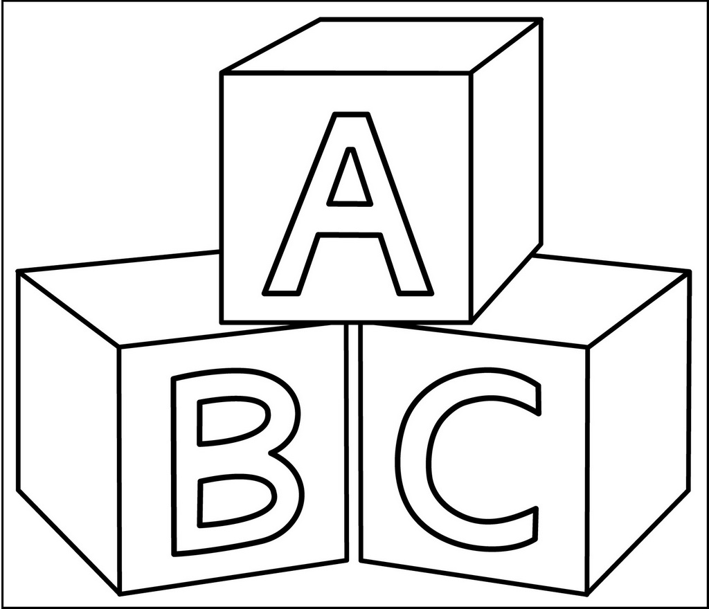 blocks coloring page for preschool
