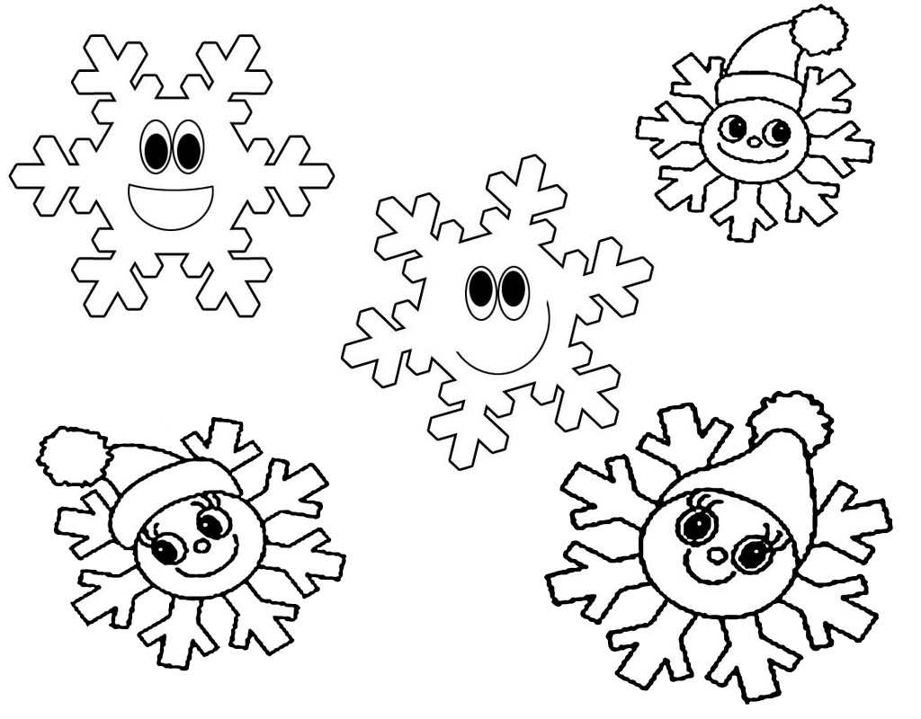 cute cartoon snowflakes coloring page