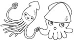 Realistic and Cartoon Squid themed Undersea Coloring Pages