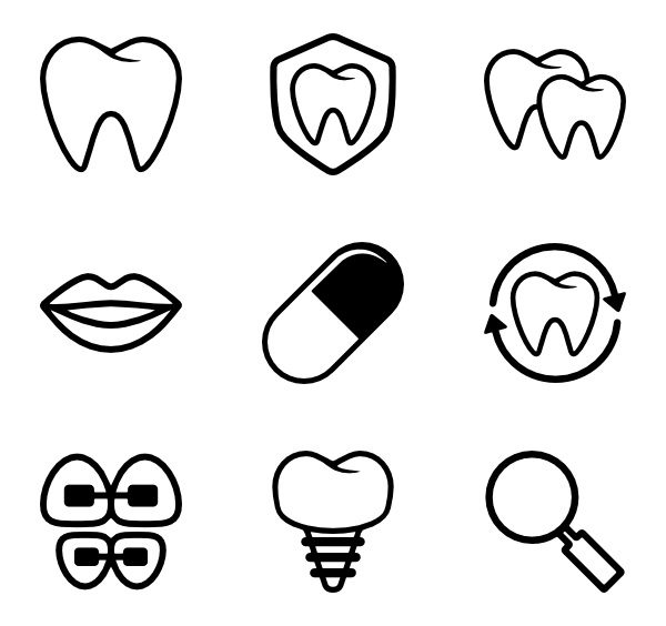 dental icon vector and logo clipart lineart