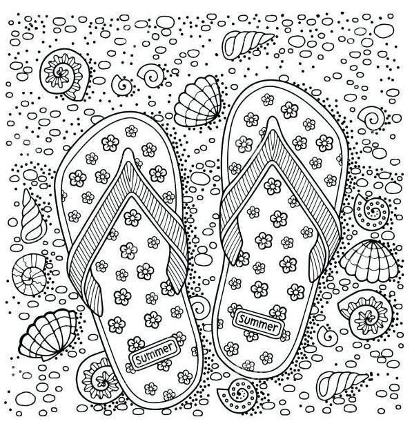flip flop beach coloring page