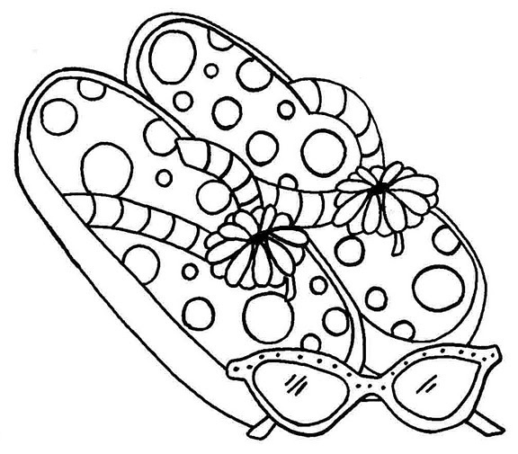 flip flop woman and sunglasses coloring pages
