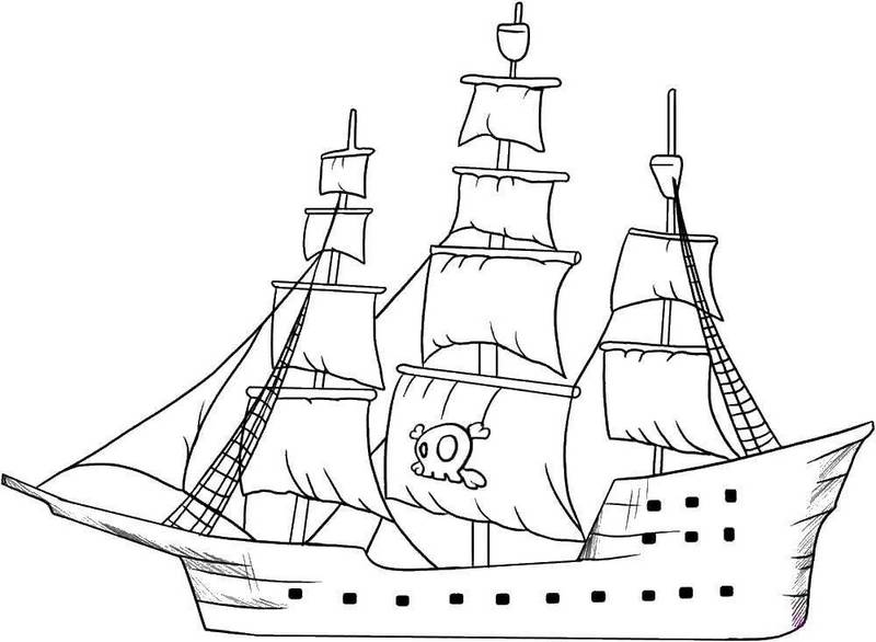 fun and easy pirate ships coloring page