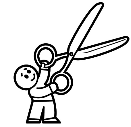 fun scissors cartoon drawing and coloring pages