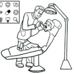 kid patient sitting in dentist chair office coloring page