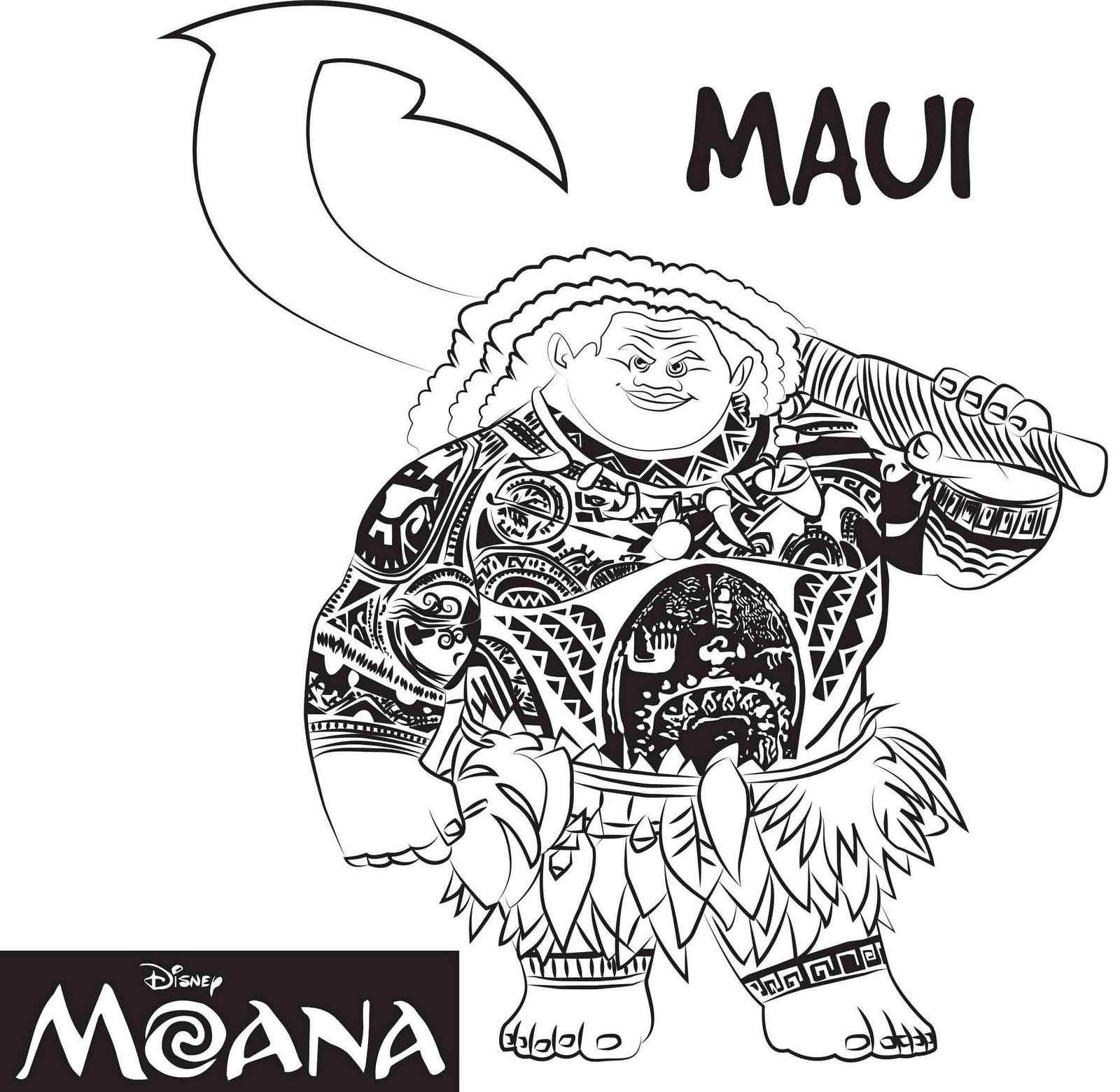 maui from moana coloring page