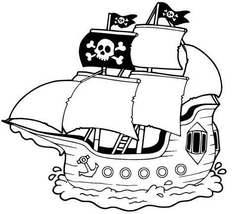 pirate ship cartoon coloring page