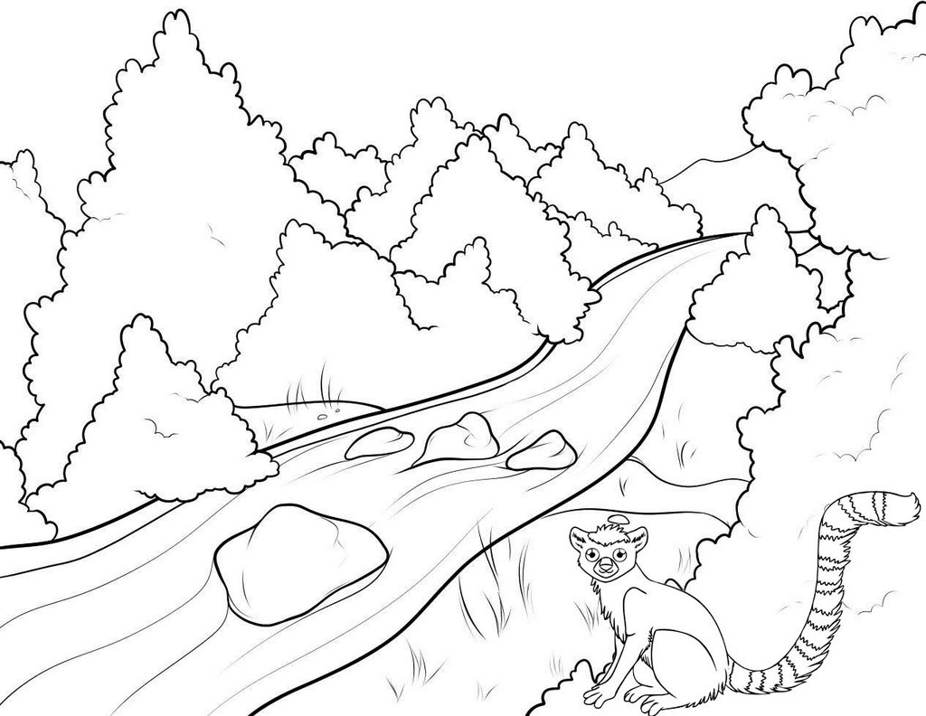 river and animal nature coloring page