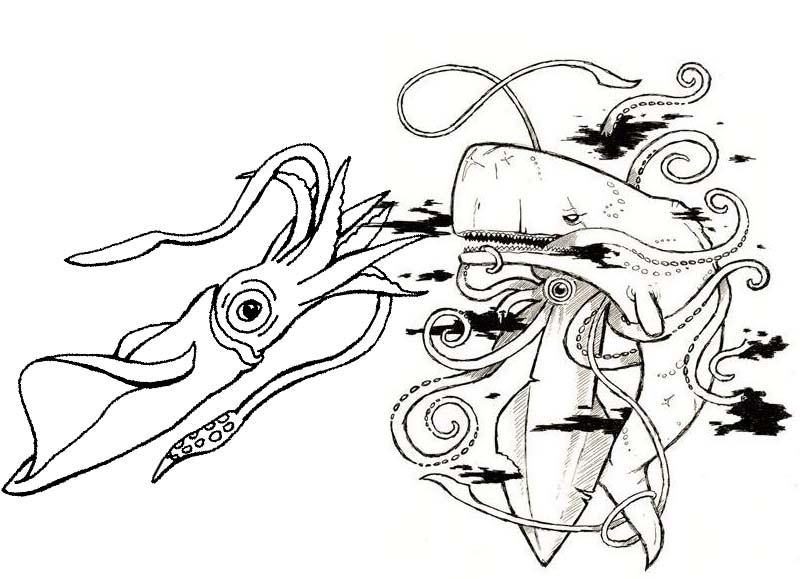 shark pouncing squid coloring page