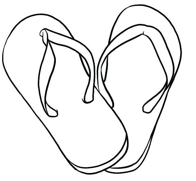 simple flip flop sandals coloring page
