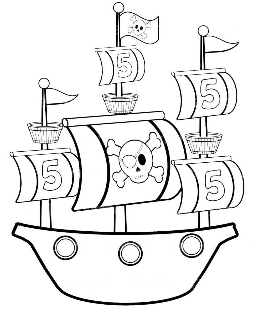 simple pirate ship coloring pages for preschool