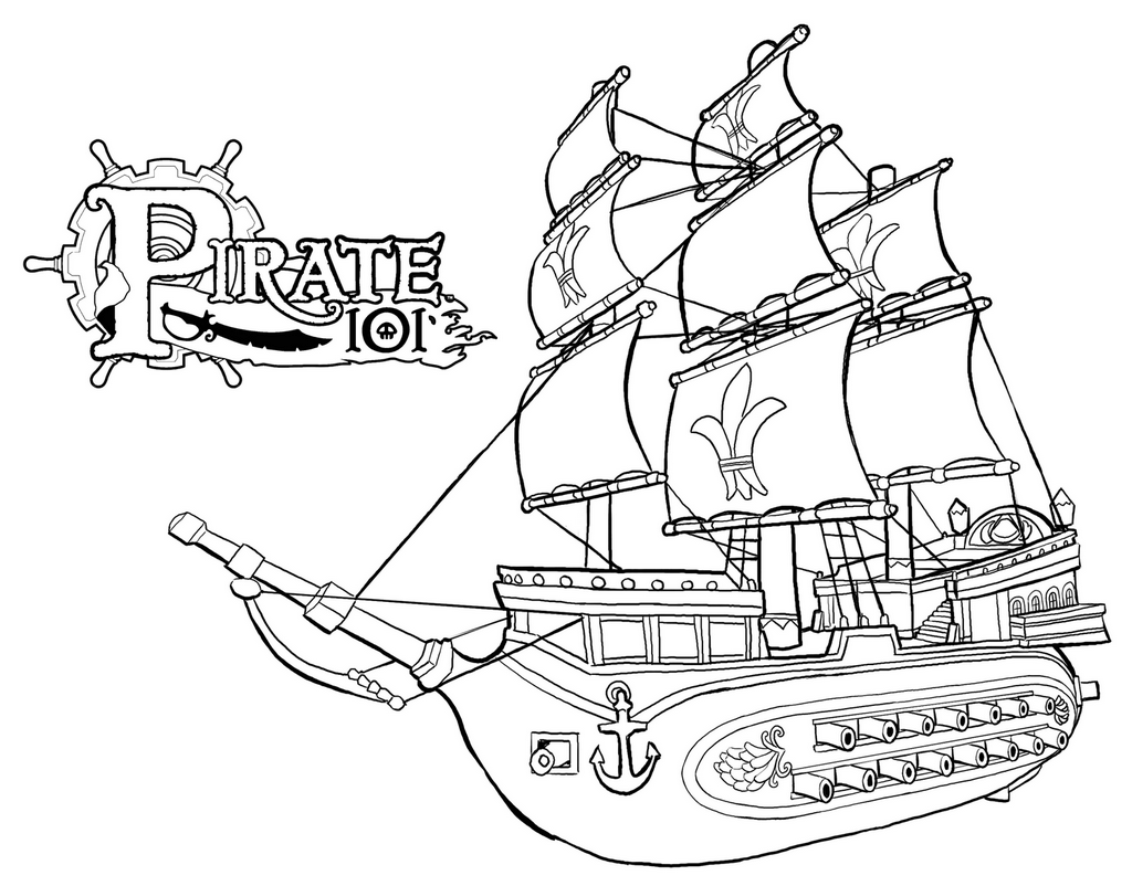 strong pirate ships coloring page