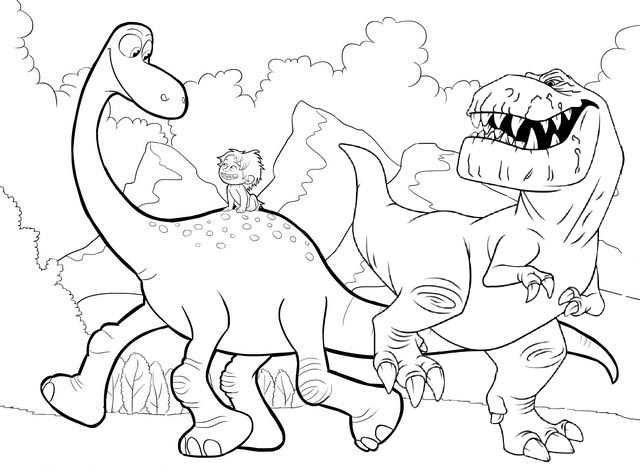 Arlo Spot and Butch The Good Dinosaur Coloring Pages