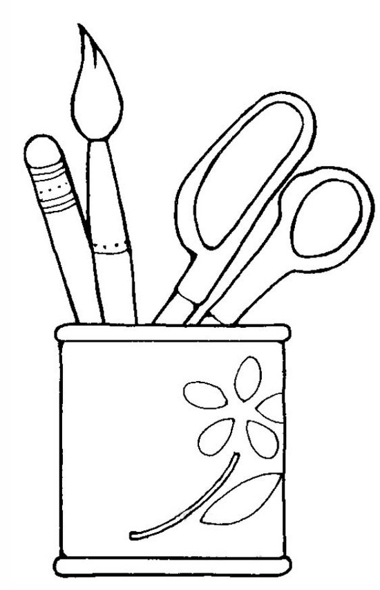 Artistic Desk Pen Holder Coloring Page