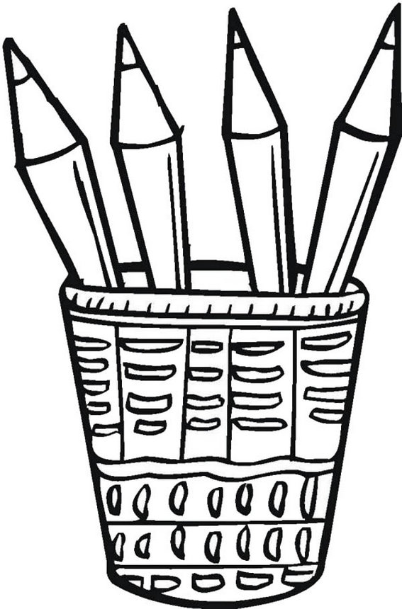 Beautiful pen desk holders coloring page