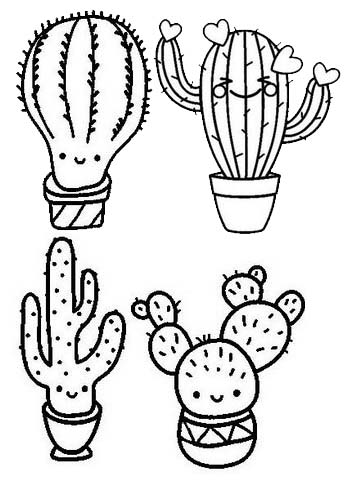 Cute Cactus Coloring Page for Children
