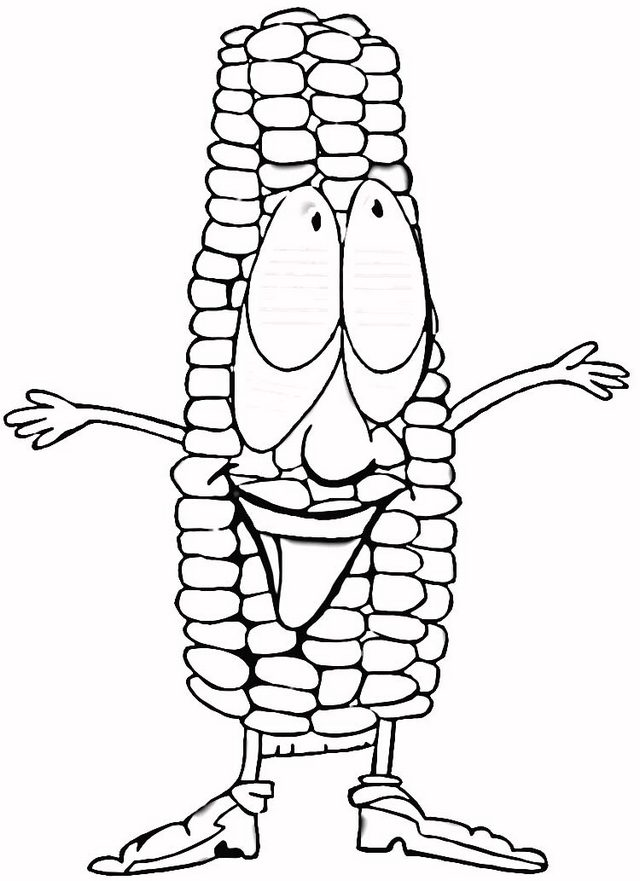 Cute Cartoon Corn Smiling Coloring Page