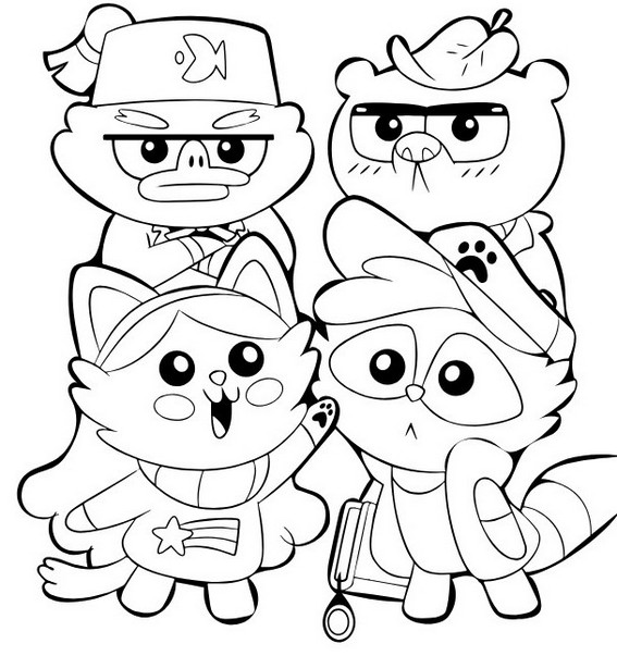 Cute Kawaii Gravity Falls Coloring Page for Kids
