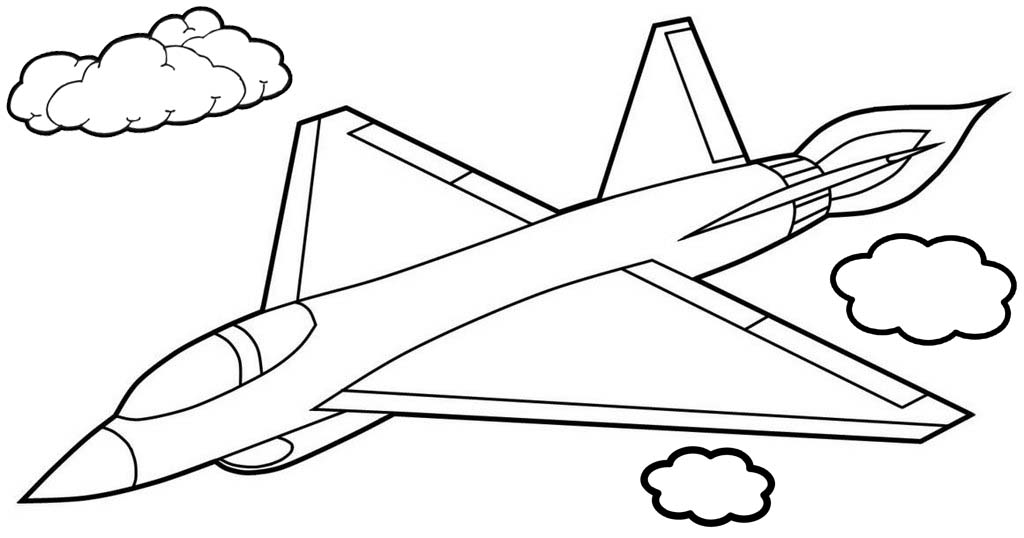 Fighter Jet Airplane Cartoon Coloring Pages for Children