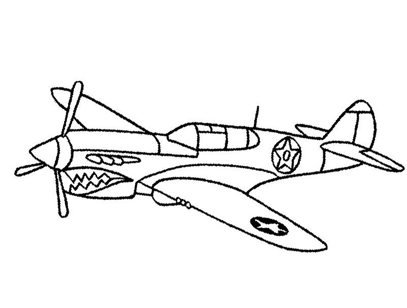 Fighter Jet Cartoon Coloring Pages for Boys