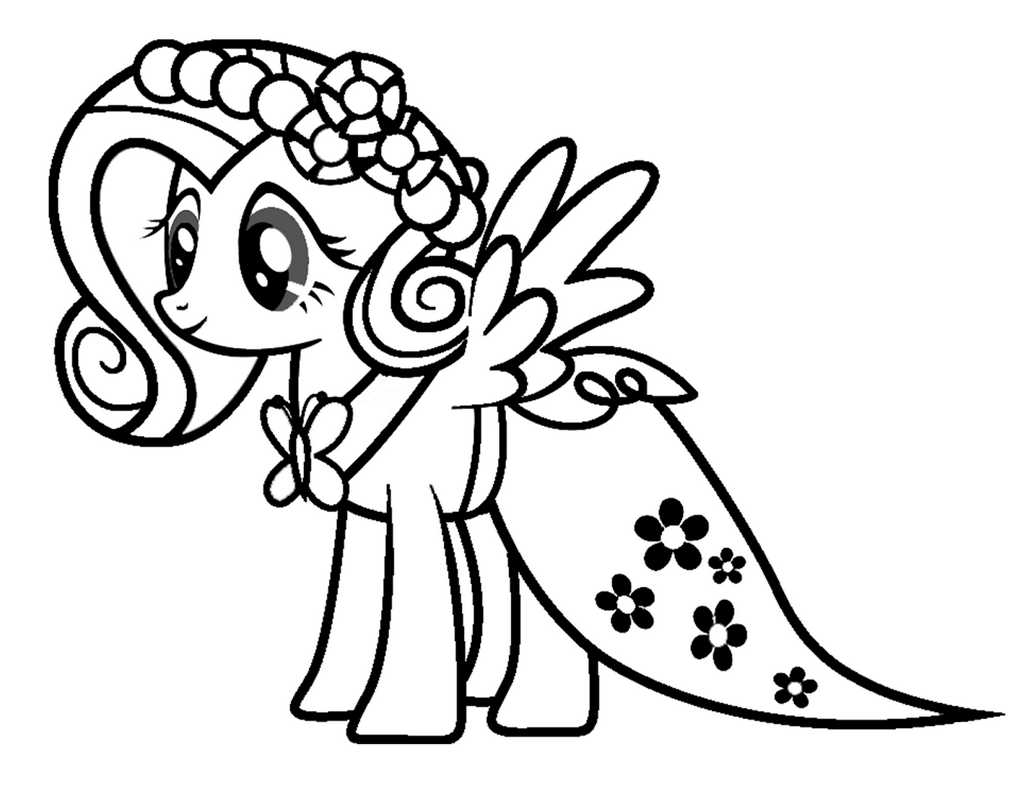 Fluttershy Yay Coloring Page for Kids