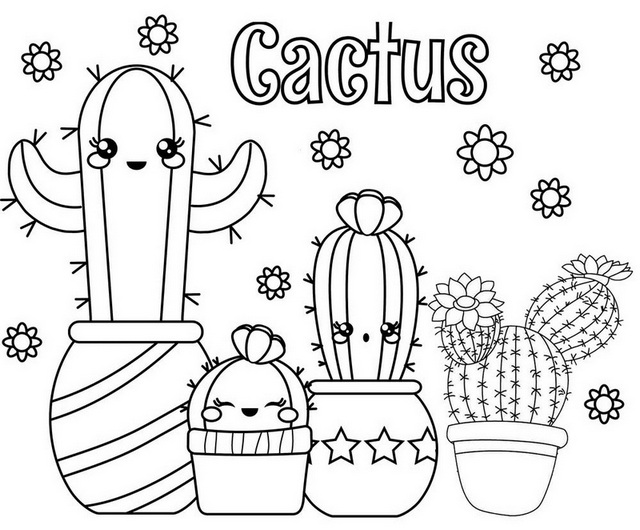 Fun Cactus Smiling Coloring Page