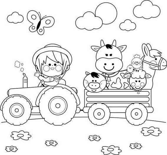Happy Vintage Tractor Cartoon Coloring Page