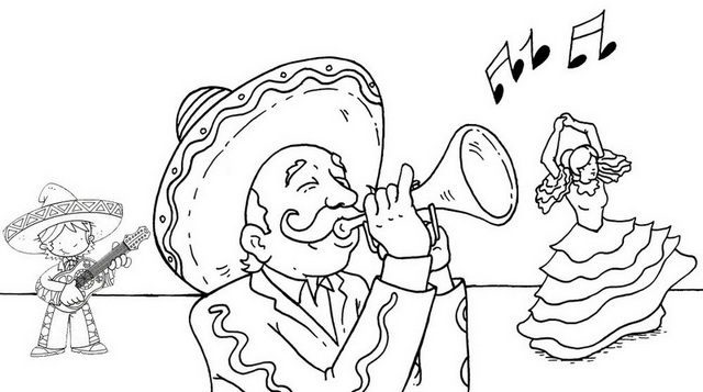 Happy and Fun Mexican Mariachi Cartoon Coloring Page