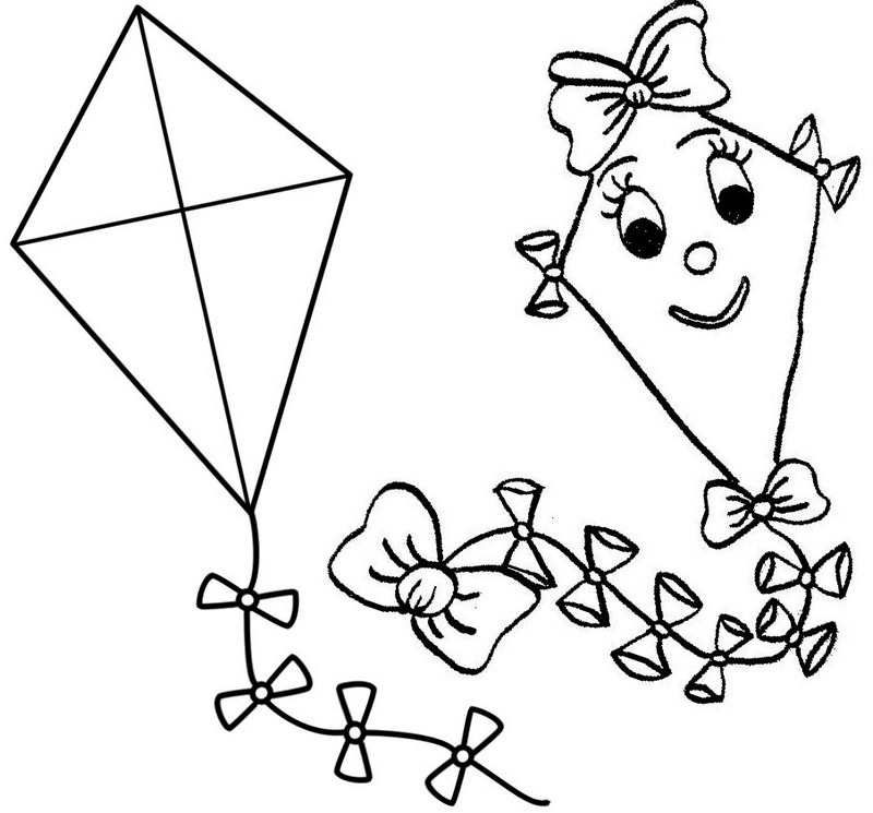 Happy kites simple coloring page for boys and girls
