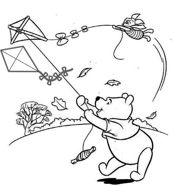 Kite Flying with Winnie The Pooh Coloring Page