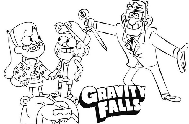 Mabel Dipper and Grunkle Stan Gravity Falls Disney Coloring Page
