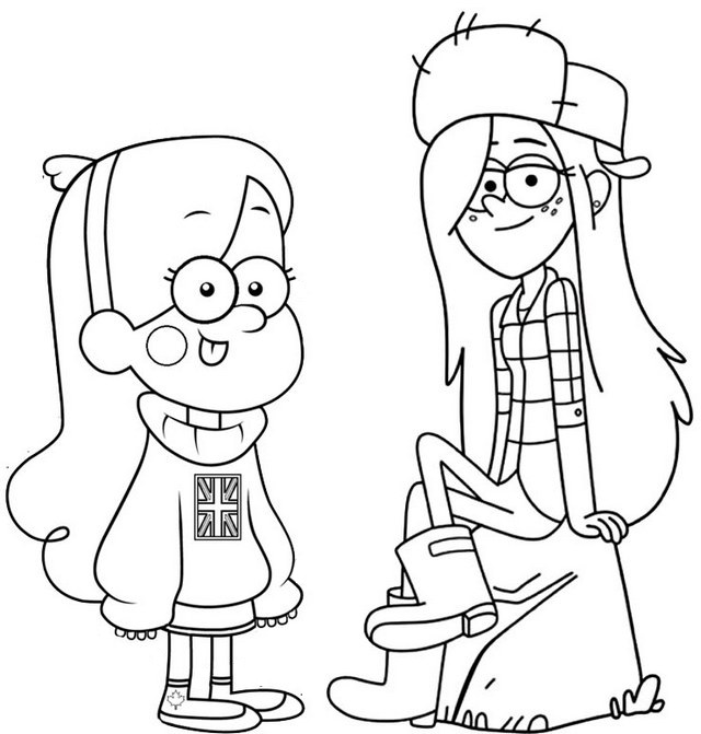Mabel and Wendy Gravity Falls Coloring Page for Kids