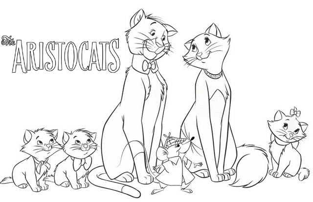 Marie Thomas Duchess Berlioz Toulouse Roquefort from Aristocats Coloring Page