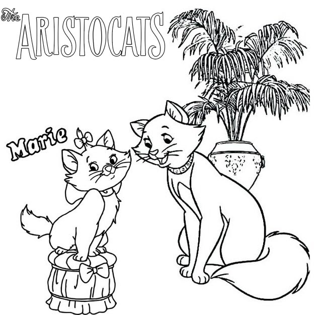 Marie and Duchess Aristocats Coloring Page