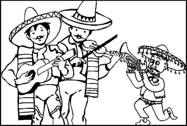 Mexican Mariachi Band Coloring Page