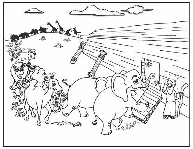 Noahs Ark Illustration Coloring Page