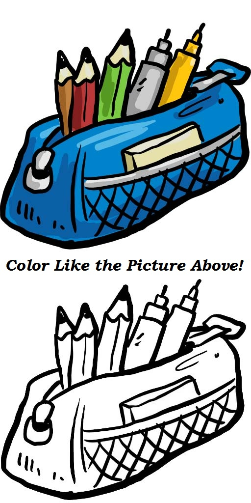 Pen Case Coloring Page with a real picture complete