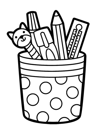 Pen and Pencil Cup Holder Coloring Page