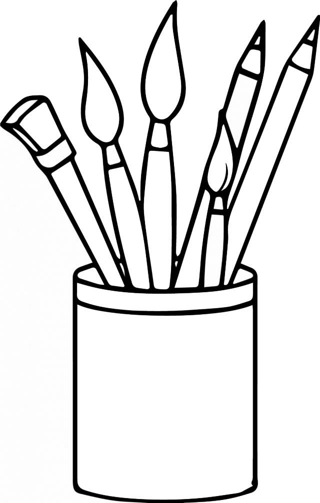Pen pencil desk holders coloring pages