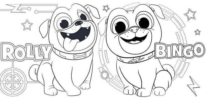 Rolly and Bingo from Puppy Dog Pals Coloring Page
