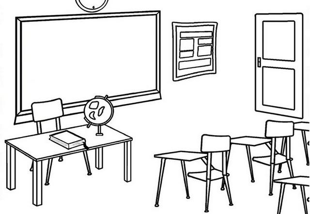 School classroom interior coloring page