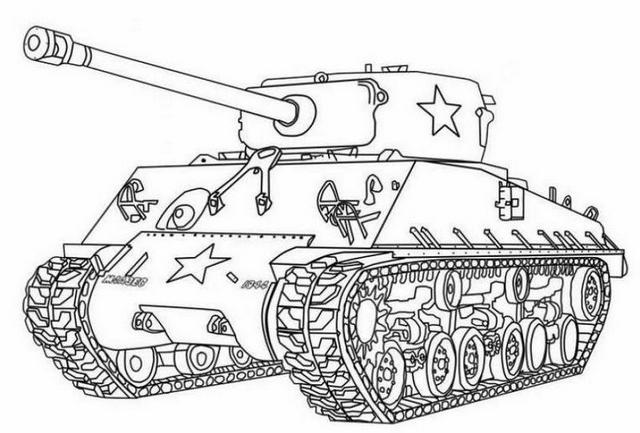 Sherman Tank Design Drawing Coloring Pages