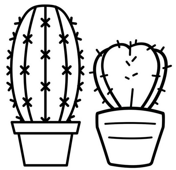 Simple Cactus Coloring Page for Kids