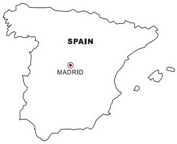 Spain Map Coloring Page for Students