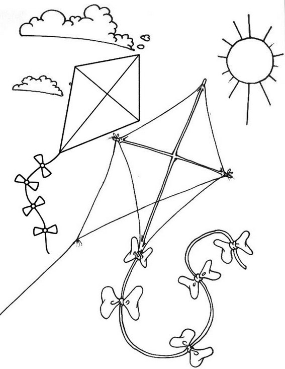 Sunny Flying Kite themed Coloring Page for Kids
