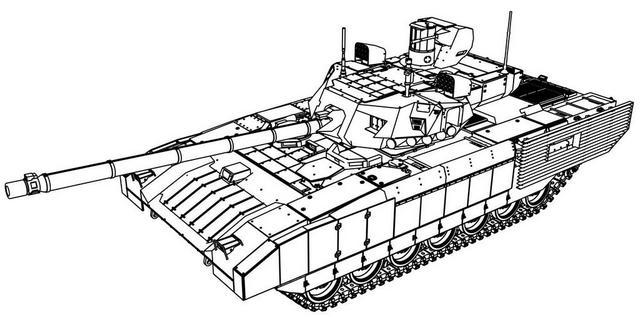 T 14 Armata Tank Blueprints Dimension Coloring Page