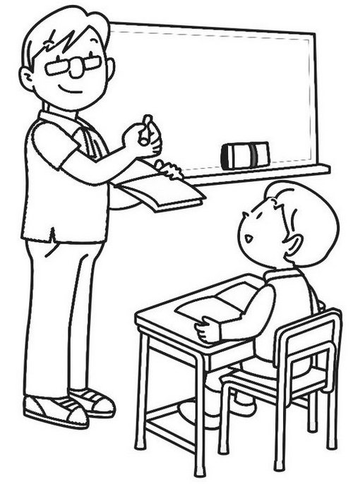 Teacher teaching college student in the classroom coloring page