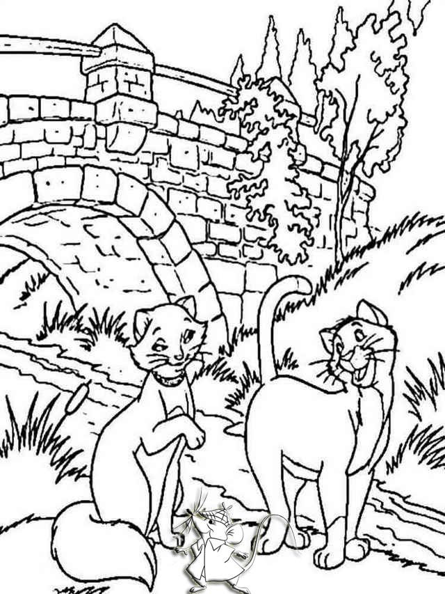 Thomas and Duchess from Aristocats Coloring Pages